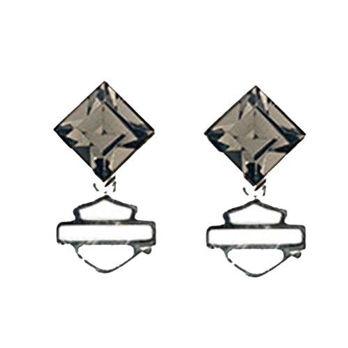 Harley-Davidson Womens Earrings, Black Ice Diamond Shape Crystal Earring HDE0360