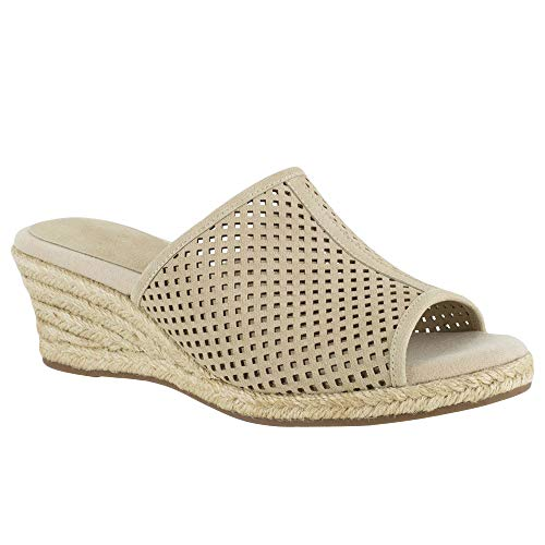 (Syktkmx Womens Perforated Wedge Slides Slip on Platform Mid Heel Espadrille)