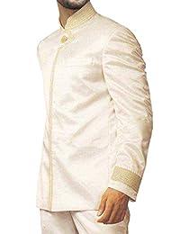 INMONARCH Hombres El príncipe Diseñador 3 Pc traje Jodhpuri marfil JO0154