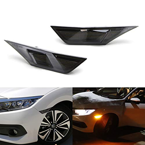 iJDMTOY Smoked Lens Amber Full LED Front Side Marker Light Kit For 2016-up Honda Civic, Powered by 90-SMD LED, Replace OEM Sidemarker Lamps ()