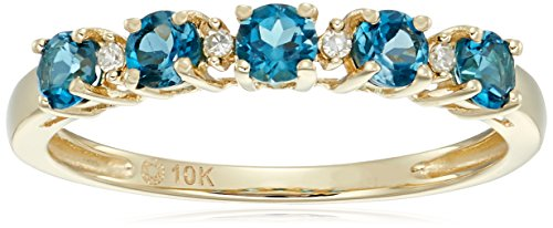 10k Yellow Gold London Blue Topaz and Diamond Accented Stackable Ring, Size 7 (Accented Blue Diamond Ring)