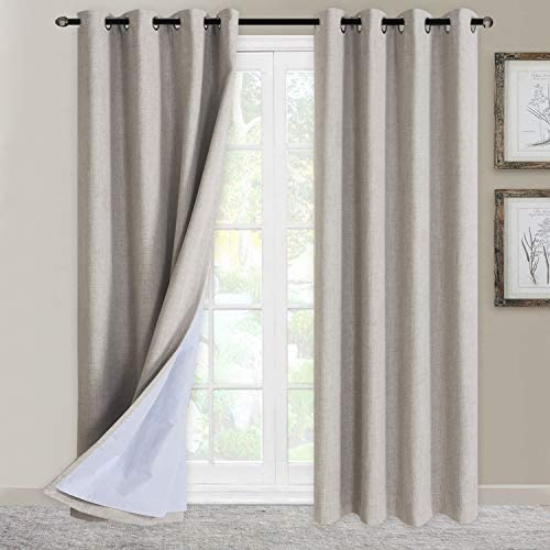 100 Blackout Shield Curtains Linen Textured Look Grommet Curtains