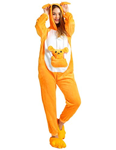 Ninimour Unisex Adult Kigurumi Pajamas Cosplay Costume Sleepwear Kangaroo L (Couples Cosplay Costumes)