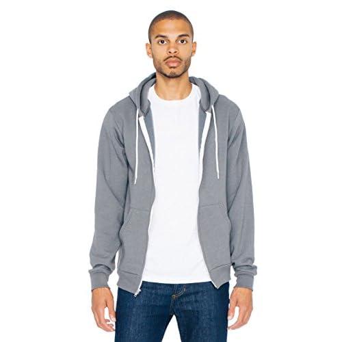 American Apparel Men Flex Fleece Two-Tone Zip Hoodie 1 Forest 1 Barrack Green XX-Large