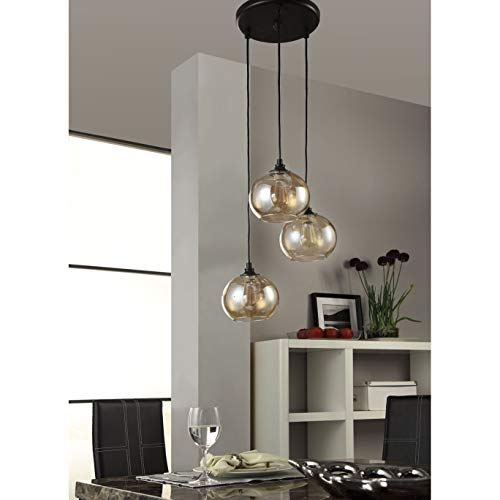 Amber Globe Uptown Indoor 3-light Cluster Pendant