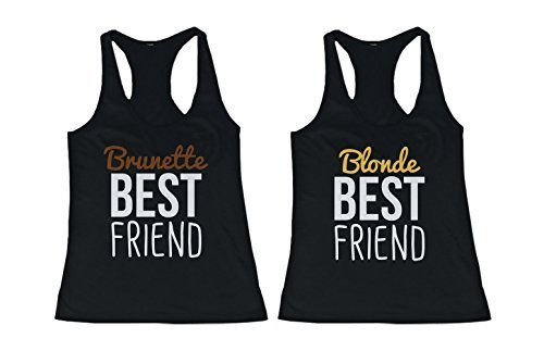 365 In Love Cute Brunette and Blonde Best Friend Tank Tops - Matching BFF Tanks (Left-M/Right-M)