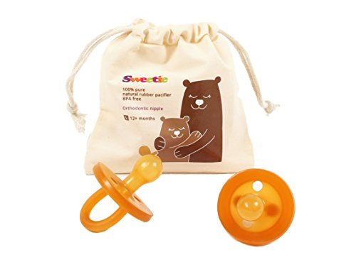 Sweetie Rubber Pacifier Natural Rubber Pacifier Rounded 1 Count Original Natural Rubber Pacifier (12-18 Large)