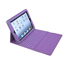 PAG Bluetooth Wireless Keyboard Case Stand with Waterproof Silicone for iPad2 3 4 Purple