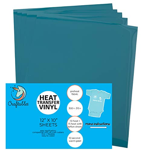 (5) 12 x 9.8 Sheets of Craftables Teal Heat Transfer Vinyl HTV - Easy to Weed Tshirt Iron on Vinyl for Silhouette Cameo, Cricut, All Craft Cutters. Ships Flat, Guaranteed Size