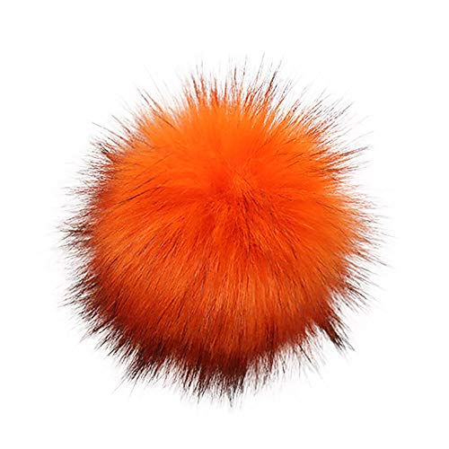 Toponly Faux Fake Fur Pom Pom Ball with Elastic Hair Band Hair Ties, Coil Hair Ties, Phone Cord Hair Ties, Hair Coils DIY Knitting Hats Accessories