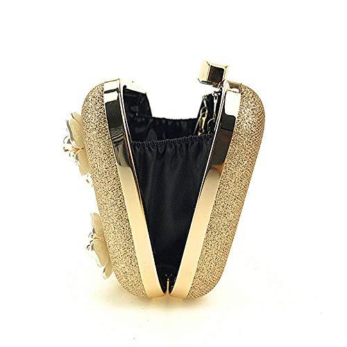 color De Sky Suave Black Noche Moda Diseño Con Vestido grow Cartera Señora Gold Flor Cuentas Bolso Embrague Boda qrtw5Zr