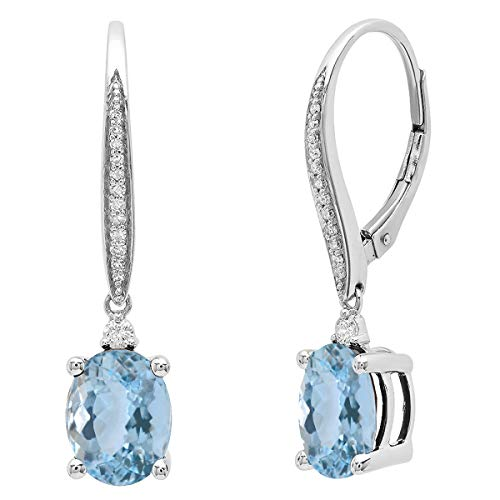 Dazzlingrock Collection 14K 9X7 MM Each Oval Aquamarine & Round Diamond Ladies Dangling Drop Earrings, White Gold ()
