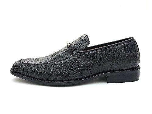 Enkel Strider Mens Strukturert Slip På Kjole Loafers Med Spenne Tilgjengelig I Store Og Høye Størrelser Svart