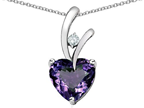 (Star K Heart Shaped 8mm Simulated Alexandrite Endless Love Pendant Necklace Sterling Silver)
