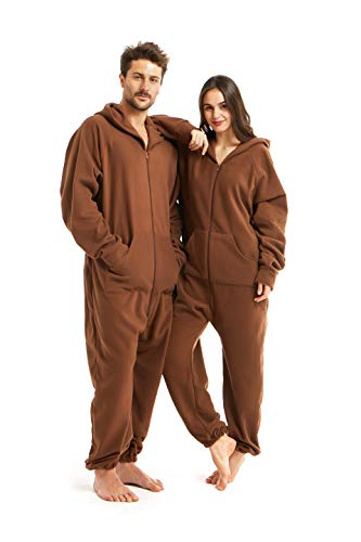 - XMASCOMING Women's & Men's Hooded Fleece Onesie Pajamas Brown Size US M