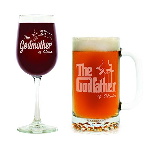 Movies on Glass - Premium Etched Personalized Christening Gift for Godfather & Godmother, Baptism Gift for Godparents, Tall Wine Glass and Beer Stein, Will You Be My Godparent Gift Set