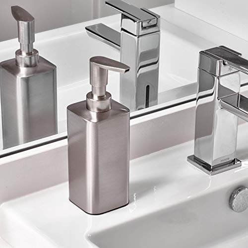 Bomba dispensadora de jabón líquido y loción de acero inoxidable InterDesign Gia para encimeras de cocinas o baños, cepillada
