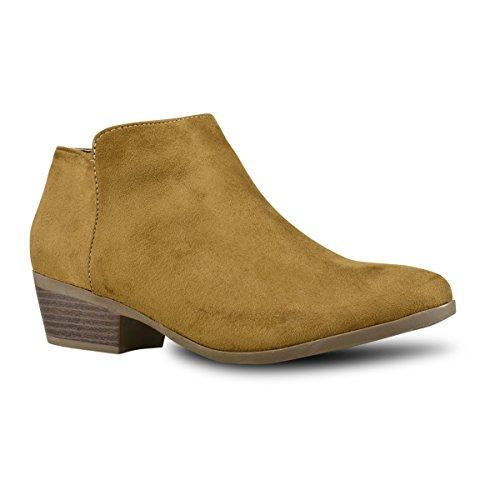 Premier Standard Women's Round Toe Faux Suede Stacked Heel Western Ankle Bootie Tan B*