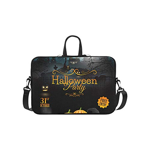 Halloween Party Flyer with Pumpkins Hat Pot and Pattern Briefcase Laptop Bag Messenger Shoulder Work Bag Crossbody Handbag for Business Travelling -