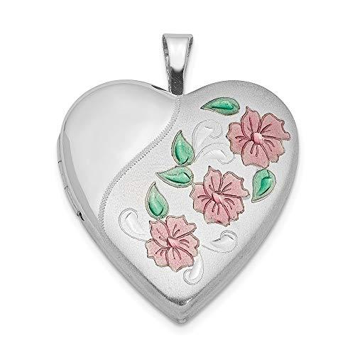 (925 Sterling Silver 20mm Enameled Flowers Heart Photo Pendant Charm Locket Chain Necklace That Holds Pictures Fine Jewelry Gifts For Women For Her)