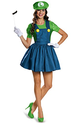 Disguise Women's Luigi Skirt Version Adult Costume, Green/Blue, (Mario And Luigi Halloween Costume)