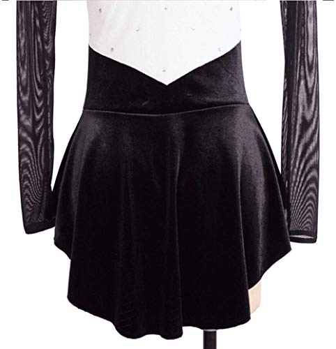 Wear Pattinaggio Ladies In Tq Dress Velluto Skating Figura Bianco Sul Ghiaccio Mano A Girls Di Maniche Lunghe Nero Felpa Performance Stretchy IPFqwq