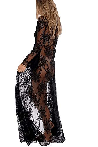 Maya Kimono - Womens Long Cardigan Beach Kimonos Black lace Kimonos Embroidered Half Sleeves (One Size, W-Black)