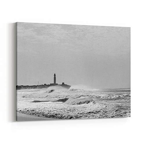 Rosenberry Rooms Canvas Wall Art Prints - Trafalgar Lighthouse Silhouette and High Contrast Light On Rough Sea in Cadiz Province, Spain Wild Nature Landscape Black and White (20 x 16 inches)