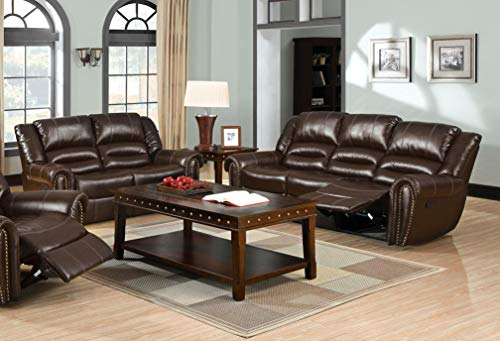 - Esofastore Modern Reclining Motion Brown Bonded Leather Match Sofa Loveseat Living Room Furniture Plush Cushion Arms Nailhead Trim 2pc Set