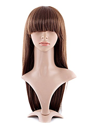 Long Wigs With Bangs (MapofBeauty Special Natural Long Straight Wigs Flat Bangs Wigs-Brown-Ladies)