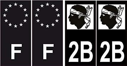 Aufkleber Für Autokennzeichen 2b Black Edition Korsika Winkel Gerade Bürobedarf Schreibwaren