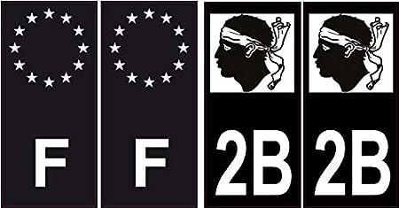 4 pegatinas autoadhesivas para placa de matrícula 2B Black Edition Córcega, color Angles: droits: Amazon.es: Oficina y papelería