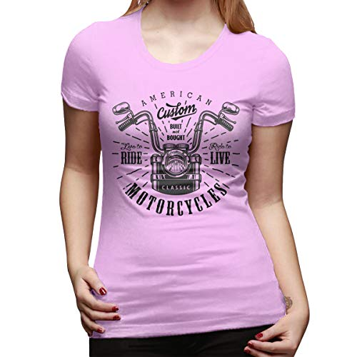 LinGing Women Designed Casual Tees Set of Vintage Custom Motorcycle Emblems Short Sleeve Cool T-Shirt Pink XXL