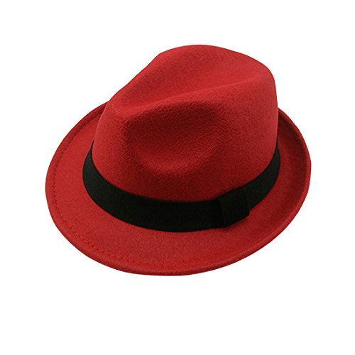 Leisure Short Brim Classic Solid Color Black Band Jazz Soft Wool Blend Fedora Hat Winter - Red (Red And Black Fedora Hat)