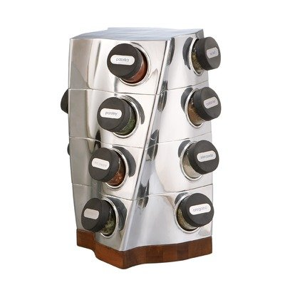 Nambe Twist Spice Rack, includes 16 Spice Bottles