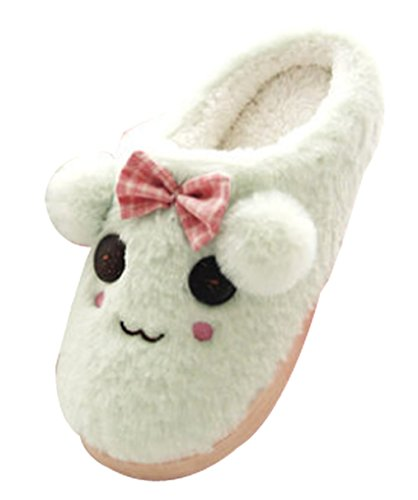 Cattior Womens Indoor Warm Dog Slippers Cute Slippers Green VWvFL