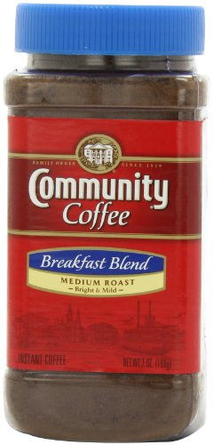 Community Coffee Breakfast Blend Medium Roast Premium Instant 7 Oz Jar (4 Pack), Medium Full Body Smooth Bright Taste, 100% Select Arabica Coffee Beans