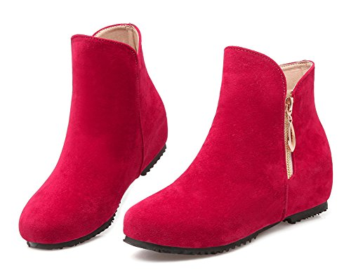 Ankle Shoes Heels Boots Elevator Round Booties Red Toe Aisun Low Zipper Side Cute Womens qx74F8nS