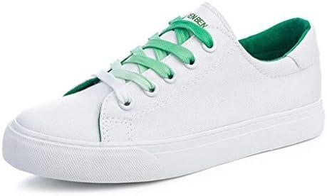 fae0ec18 SHI Zapatos de Lona para Mujer Zapatos Deportivos Planos de Moda Zapatos de Cordones  para Estudiantes Ocasionales al Aire Libre (Color : Green, Tamaño : 35)
