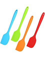 Uppsättning av 4 silikonspatlar för matlagning/silikonspatel bakning i blandade färger/stor non-stick spatel silikon i orange/blå/grön/röd
