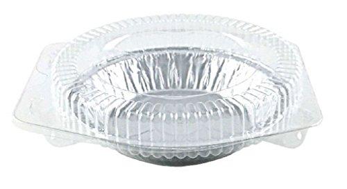 "6"" Aluminum Foil Pie Pan Plate Tin w/Clear Plastic Clamshell 50/PK"