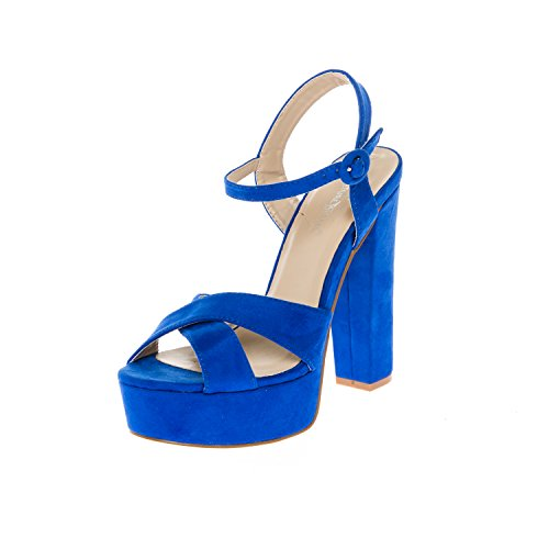 CALICO KIKI CAELA-CK01 Women's Buckle Ankle Strap Open Toe Chunky High Heel Platform Dress Sandals (10 US RoyalBlue SU)