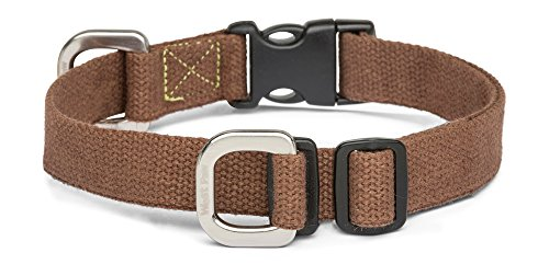 West Paw Strolls Dog Collar with Hemp, Small, Mocha, Made in USA