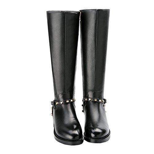 ENMAYER Womens Cow Leather Knee-High Warm Boots Buckle Decoration Round Toe Casual Bottes Plates Black DWoJKj