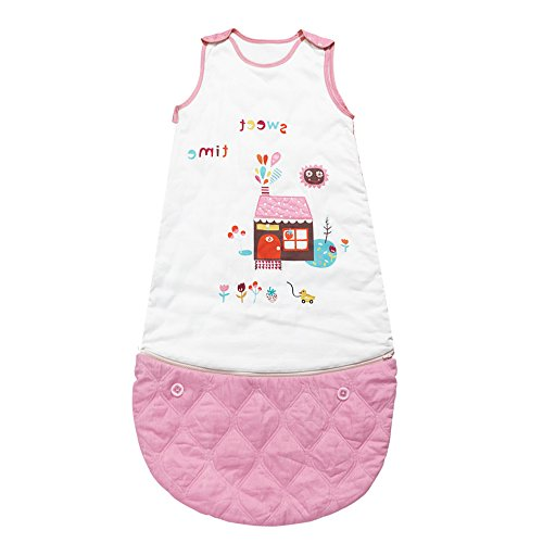 i-baby Organic Cotton Baby Sleeping Bag 4 Seasons Wearable Blanket Baby Slumber Sacks for Children 0-3 Years (Pink) by i-baby