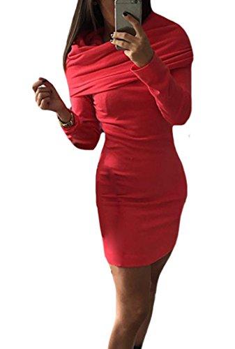Cruiize Womens Manches Longues Couleur Unie Robe Chaude Mini Moulante Rouge À Capuchon