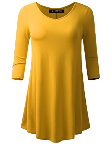 All for You Women's 3/4 Sleeve V-Neck Flare Hem Tunic Mustard Medium - Prints Cotton Scarf Linen