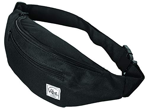 (Vibe Fanny Pack Cute Black Pineapple or Shiny Holographic Silver Gold (Black))