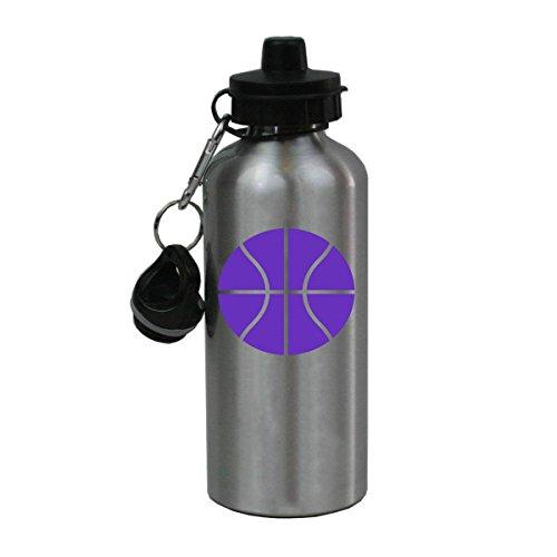 Personalized Custom Basketball Aluminum Silver Finish 20 Ounce Water Bottle Customizable (Purple)