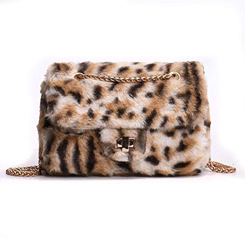 Bags Women Leopard Print Velour Chain Flap Shoulder Bags Female Messenger Bag Girls Crossbody Bag,Khaki